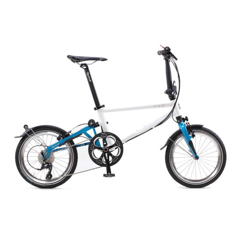 Tyrell IVE Folding Bike - Pearl White/blue Metallic