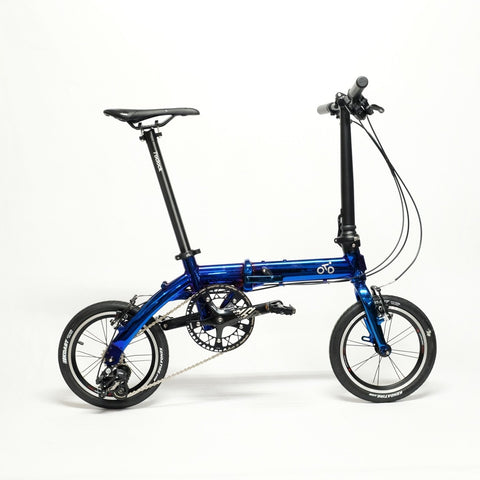 Flock OTD 14 version 1.0 - 3 Speed Folding Bike - Chrome Blue