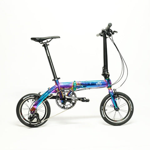 Flock OTD 14 Version 1.0 - 3 Speed Folding Bike - Chrome Colorful