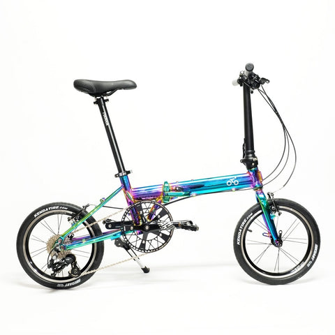 Flock OTD 16 version 2.0 - 9 Speed Folding Bike - Chrome Colorful