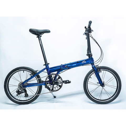 Flock OTD 20 version 2.0 - 9 Speed Folding Bike - Chrome Blue