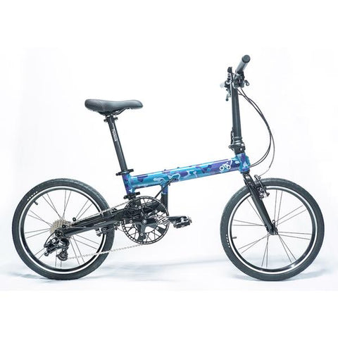 Flock OTD 20 version 2.0 - 9 Speed Folding Bike - Blue Camouflage