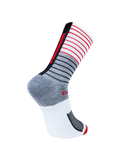 Chapeau! Lightweight Stripe Tall Sock - Grey/White/Red