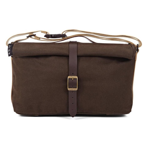 Brompton Roll Top Shoulder Bag - Khaki Waxed Canvas