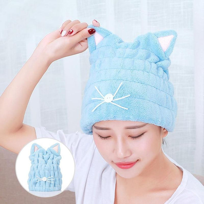CUTE CAT EARS HAIR-DRYING TOWEL BATH CAP
