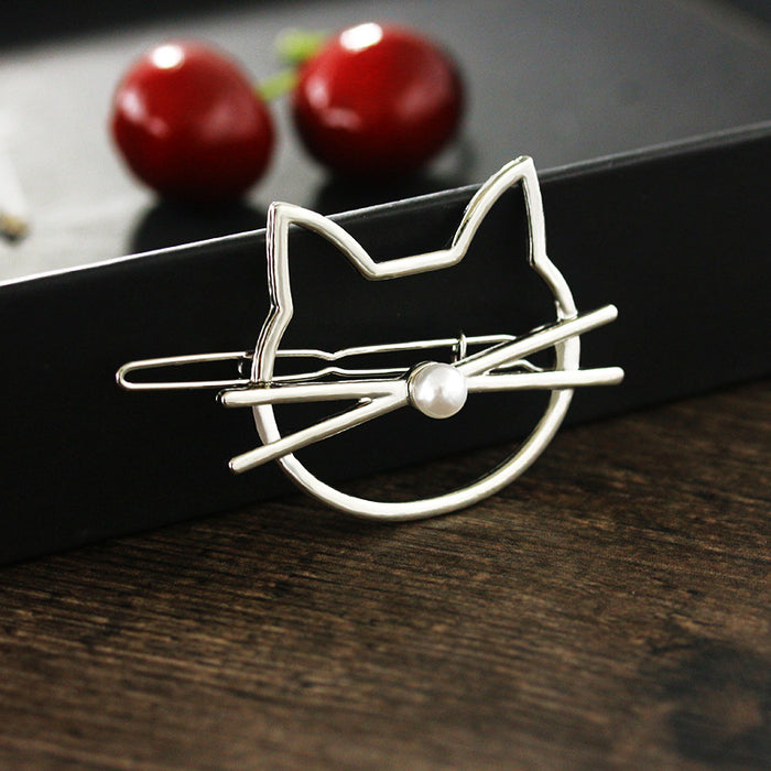 CUTE KITTY HAIR CLIPS CAT SHAPED FELINE HAIR ACCESSORY KITTEN WOMEN SILVER GOLD