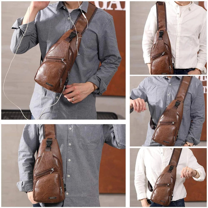 Large Men's Leather Bag Chest Backpack Waterproof Crossbody Bag with USB