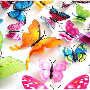 12Pcs 3D Double Layer Butterfly Wall Sticker