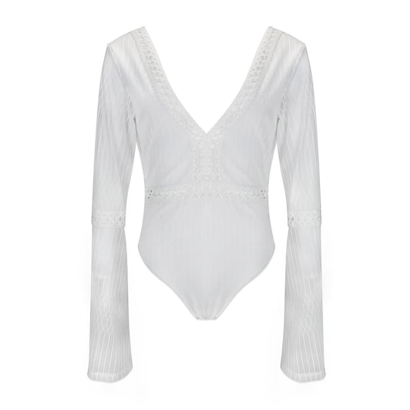 All White Deep V Neck Lace Bodysuit