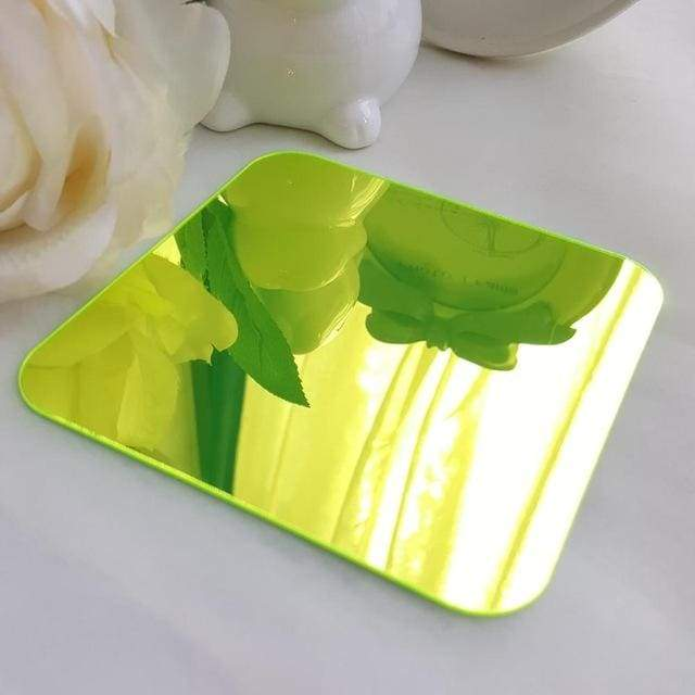 3D Acrylic Mirror Decorative Ornate Flower - Fluorescent Green / S 80cm x 80cm