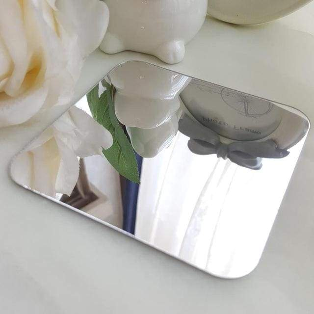 3D Acrylic Mirror Decorative Ornate Flower - Silver / S 80cm x 80cm