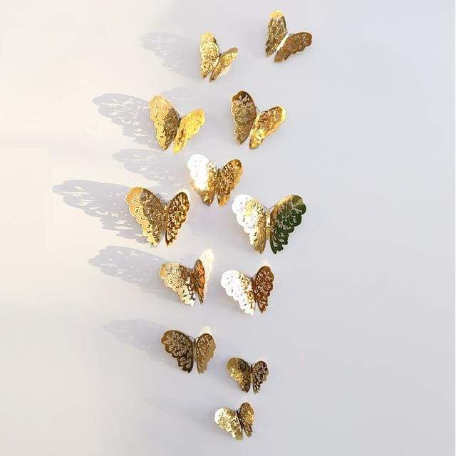 3D Hollow Butterfly Wall Stickers 12PCS/Set - Glod A