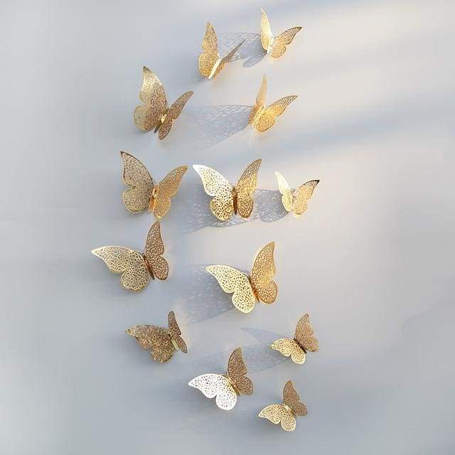 3D Hollow Butterfly Wall Stickers 12PCS/Set - Glod B