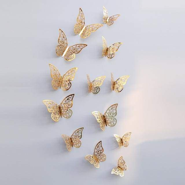 3D Hollow Butterfly Wall Stickers 12PCS/Set - Glod C