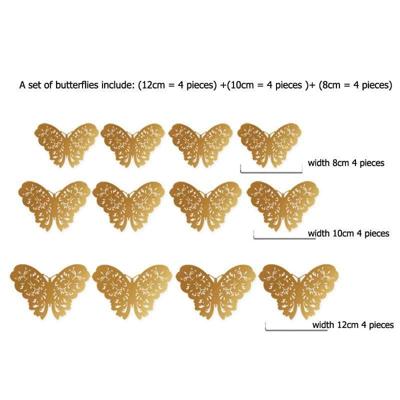 3D Hollow Butterfly Wall Stickers 12PCS/Set