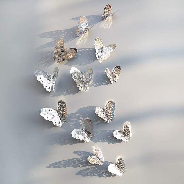 3D Hollow Butterfly Wall Stickers 12PCS/Set - Silver A