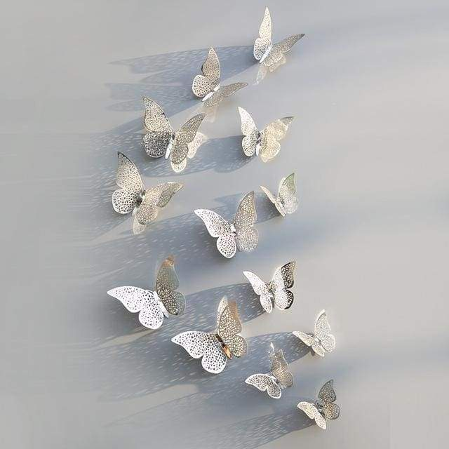 3D Hollow Butterfly Wall Stickers 12PCS/Set - Silver B