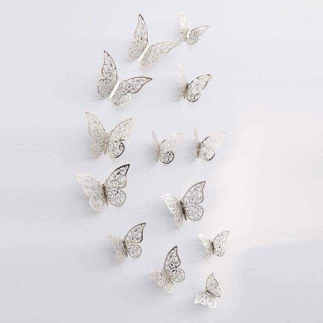 3D Hollow Butterfly Wall Stickers 12PCS/Set - Silver C