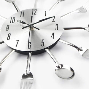 Metal Cutlery Kitchen Wall Clock
