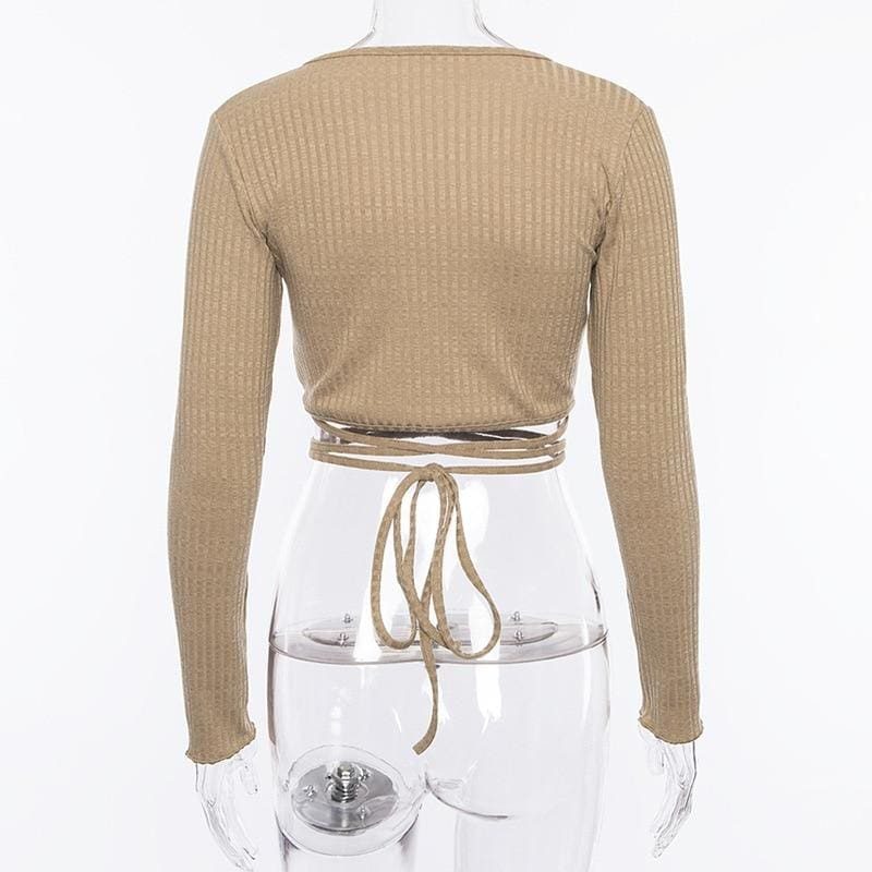 Deep V Bandage Long Sleeve Crop Top