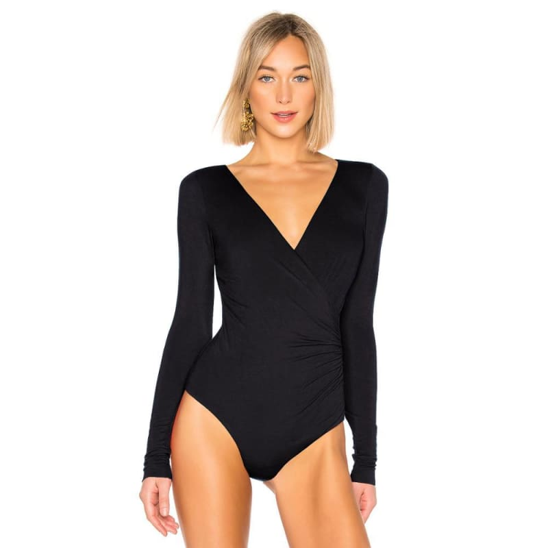 Surplice Ruched Deep V Neck Bodysuit