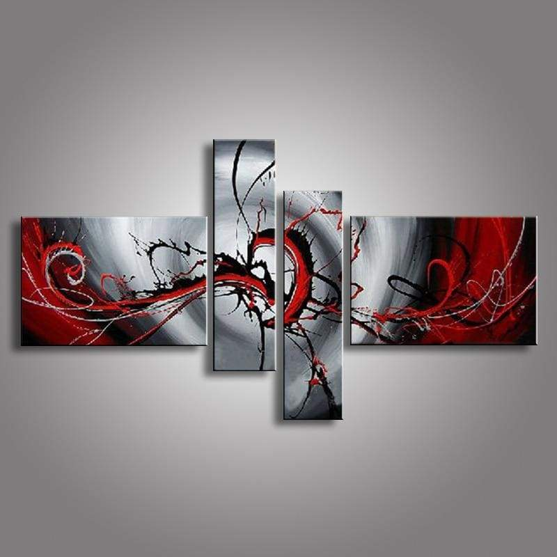 Abstract Oil Handmade Modern Unframed Canvas Paintings 4PCS/Set