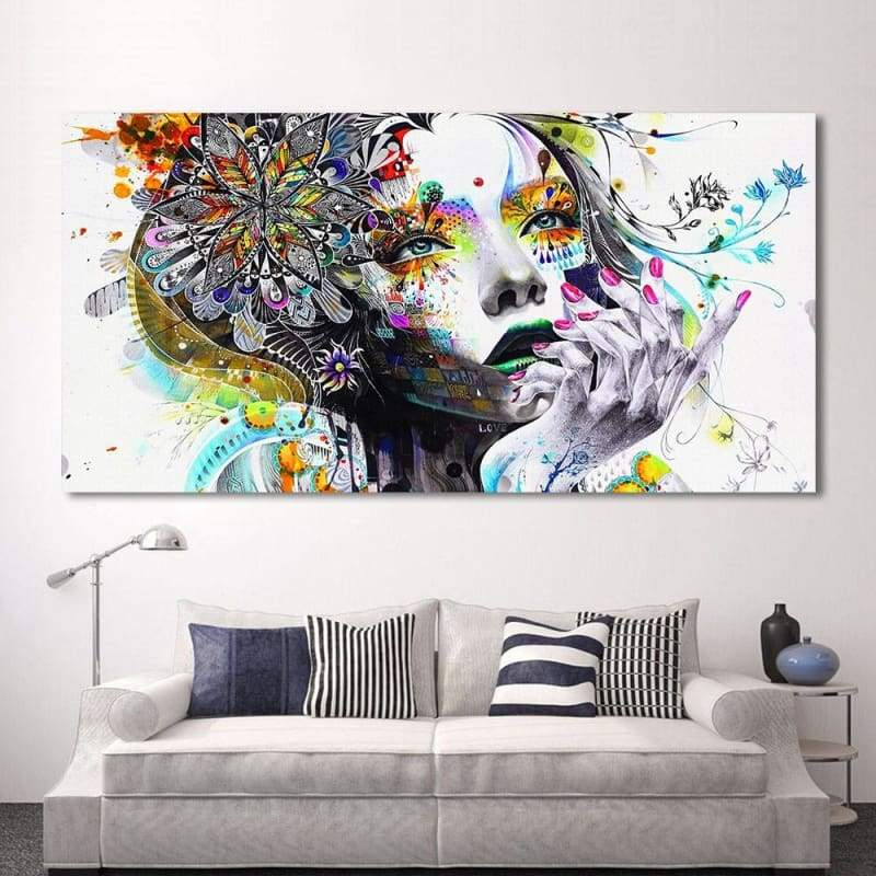 Art Girl With Flowers Modern Modular Canvas Painting Unframed 1 PCS/Set - 12X24