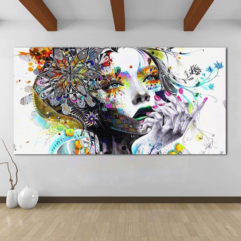 Art Girl With Flowers Modern Modular Canvas Painting Unframed 1 PCS/Set