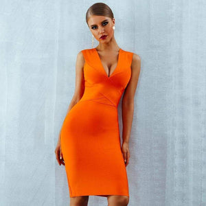 Bandage V-Neck Sleeveless Bodycon Dress