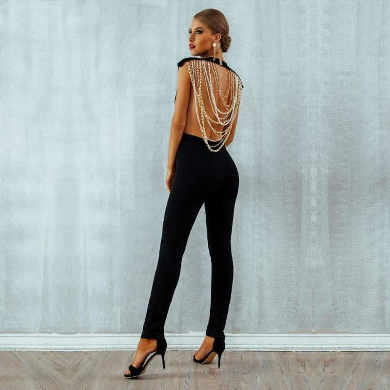Beaded Chain Open Back Jumpsuit
