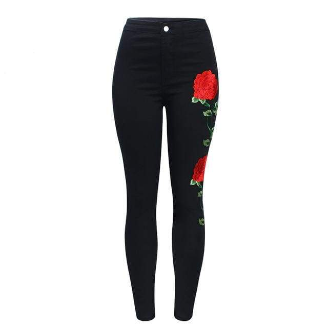 Black High Waist Floral Embroidery Skinny Jeans