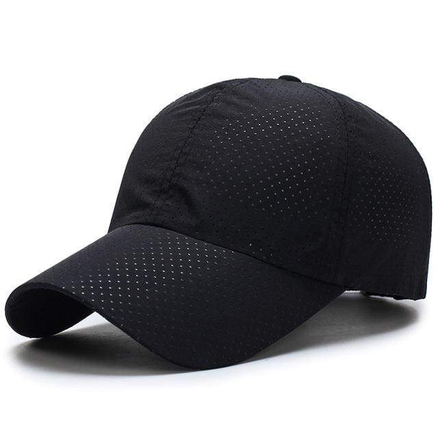 Breathable Mesh Baseball Cap - Black