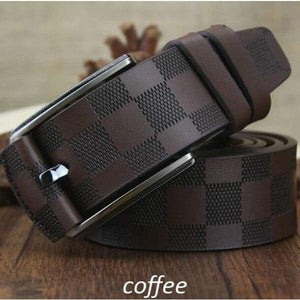 British Style Plaid Pattern Genuine Leather Belts - Coffee / 95cm