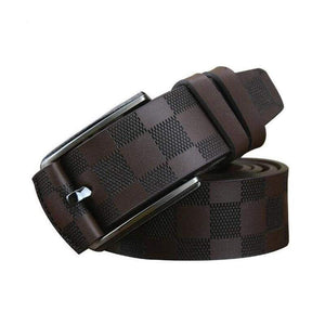 British Style Plaid Pattern Genuine Leather Belts