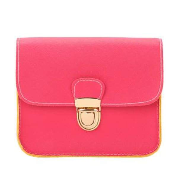 Casual PU Leather Flap Handbags - Hot Pink