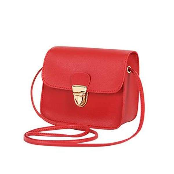 Casual PU Leather Flap Handbags - New Red