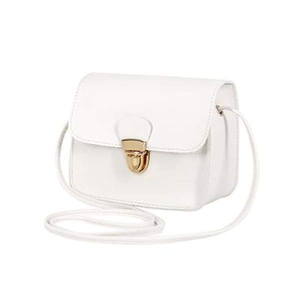 Casual PU Leather Flap Handbags - New White