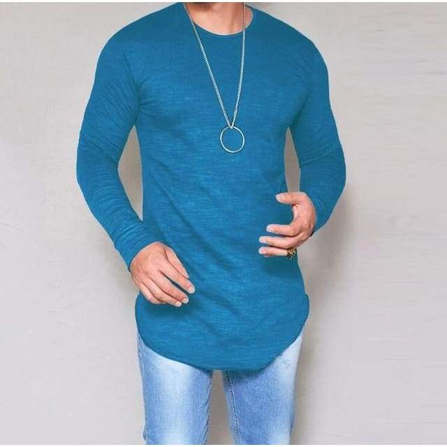 Casual Slim Elastic Soft Solid Long Sleeve T-Shirts 10 + Colors up to 5XL - Dark blue / S