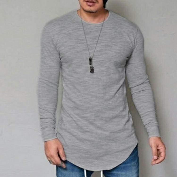 Casual Slim Elastic Soft Solid Long Sleeve T-Shirts 10 + Colors up to 5XL - Grey / S