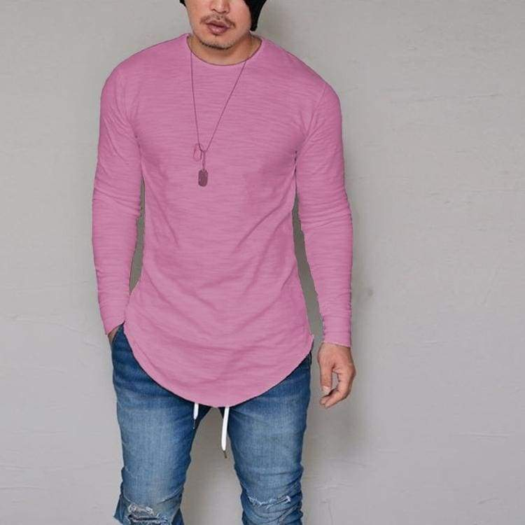 Casual Slim Elastic Soft Solid Long Sleeve T-Shirts 10 + Colors up to 5XL - Pink / S