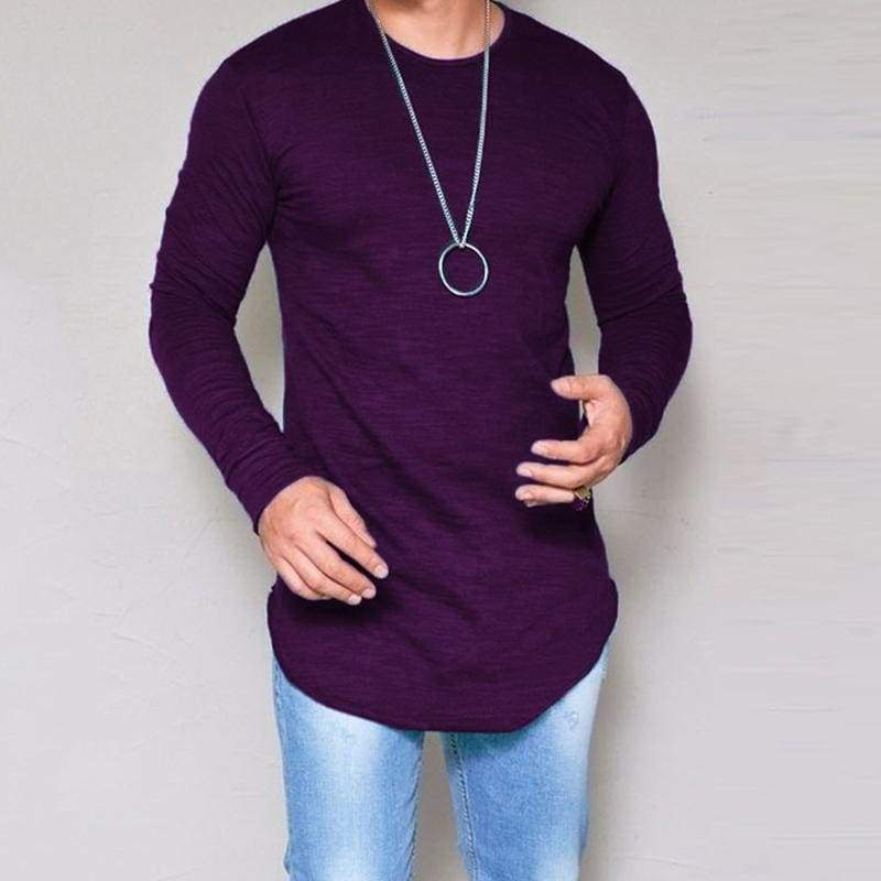 Casual Slim Elastic Soft Solid Long Sleeve T-Shirts 10 + Colors up to 5XL - Purple / S