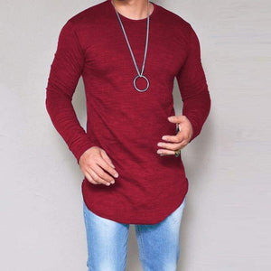 Casual Slim Elastic Soft Solid Long Sleeve T-Shirts 10 + Colors up to 5XL - Red / S