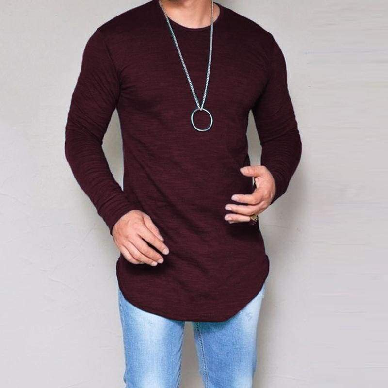 Casual Slim Elastic Soft Solid Long Sleeve T-Shirts 10 + Colors up to 5XL - Wine red / S