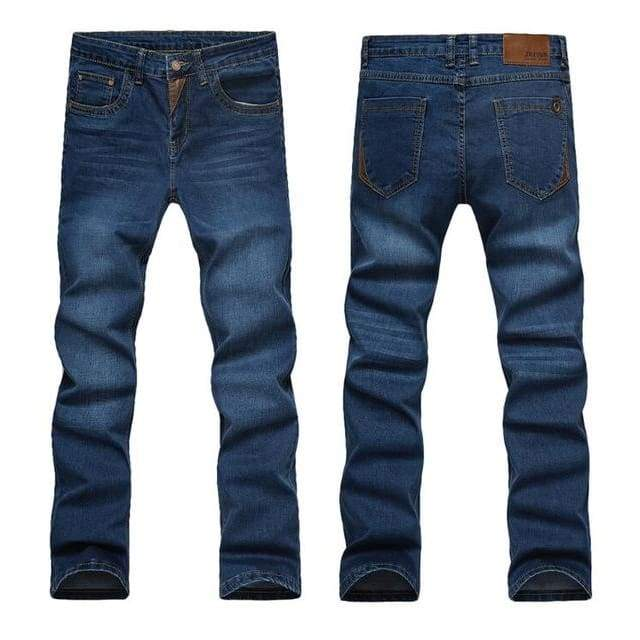 Casual Slim Straight High Elasticity Feet Jeans - Blue 604 / 28
