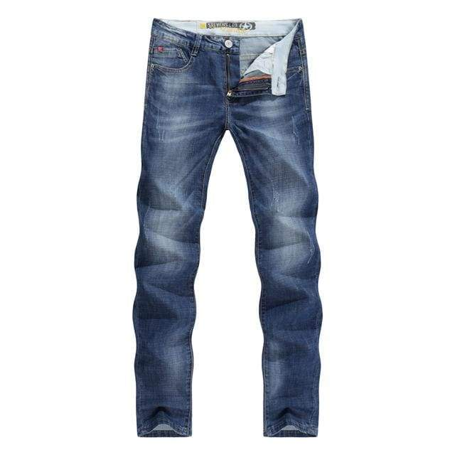 Casual Straight Slim Fit Stretch Blue Jeans