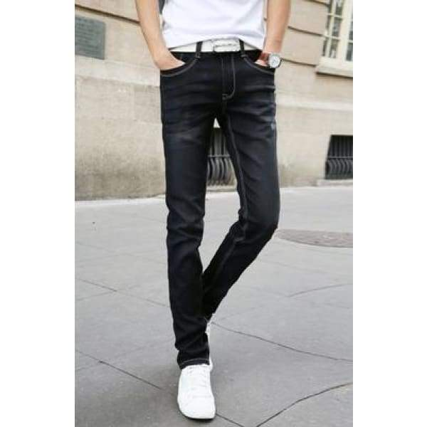 Casual Stretch Skinny Jeans Solid Colors - Black / 28