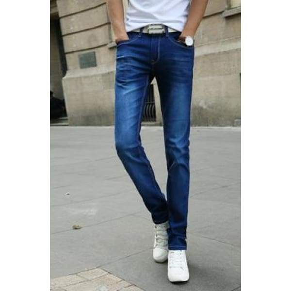 Casual Stretch Skinny Jeans Solid Colors - Blue / 28