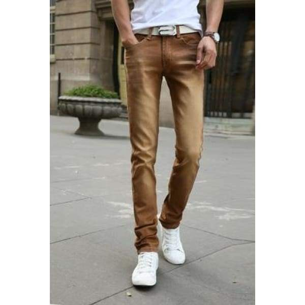 Casual Stretch Skinny Jeans Solid Colors - Brown / 28