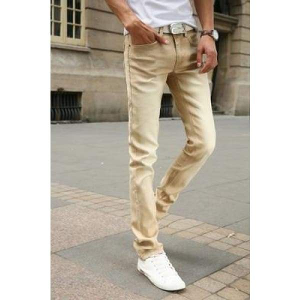 Casual Stretch Skinny Jeans Solid Colors - Khaki / 28