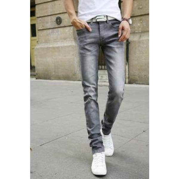 Casual Stretch Skinny Jeans Solid Colors - Silver / 28